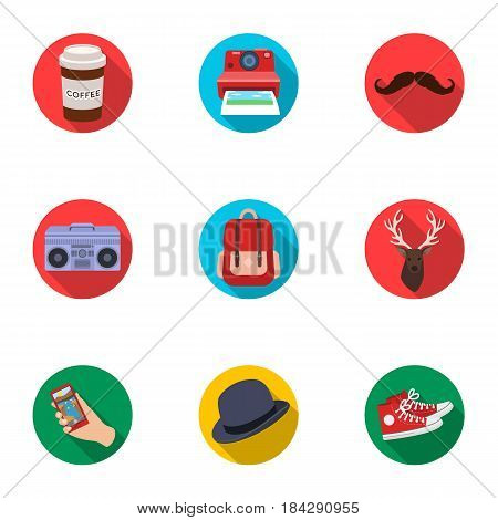 A set of icons about the style of a hipster. A peculiar youth style. Hipster style icon in set collection on flat style vector symbol stock web illustration.