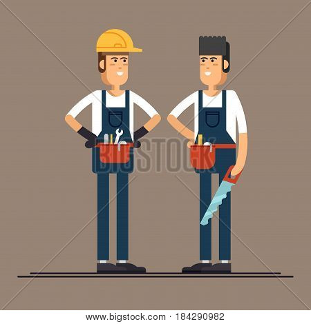 Couple of construction workers vector flat characters. Young man friendly smiling workers in workwear overalls standing isolated and holding building tools. Buildin specialists ready for work