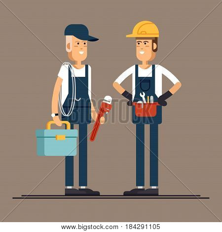 Couple plumber workers, male character standing holding tool box and plumber wrench. Friendly smiling adult plumbing professional person ready for work, flat design isolated
