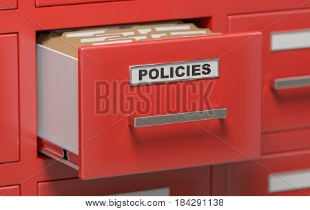 3D Rendered Illustration Of Cabinet With Policies Folders And Fi