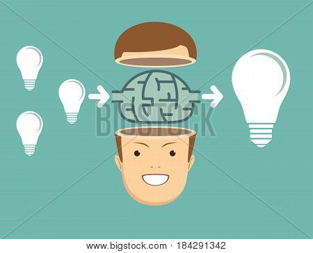 businessman Think about ideas. cooperate concept . Stock vector illustration for poster, greeting card, website, ad, business presentation, advertisement design.