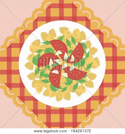 Italian pasta dish concept with farfalle tomatos cheese and basil green leaves on tablecloth vector illustration