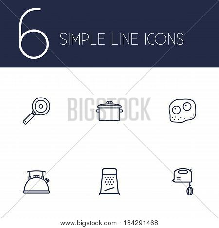 Set Of 6 Culinary Outline Icons Set.Collection Of Mixer, Kettle, Grater And Other Elements.