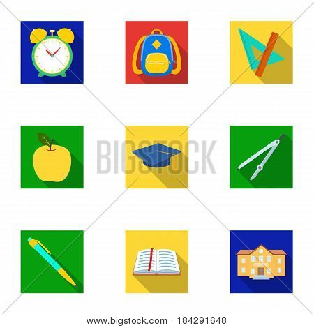 Set of pictures about the school. Study training. Supplies for school.Outfit of the student. School and eduacation icon in set collection on flat style vector symbol stock web illustration.
