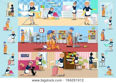 Cleaning company brochures with professional workers doing household duties at office bathroom and living room vector illustration