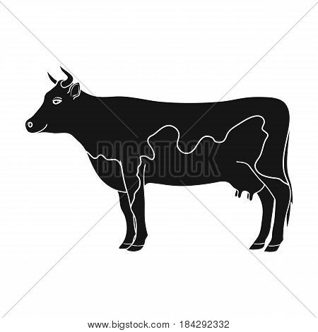 Cow.Animals single icon in black style vector symbol stock illustration .
