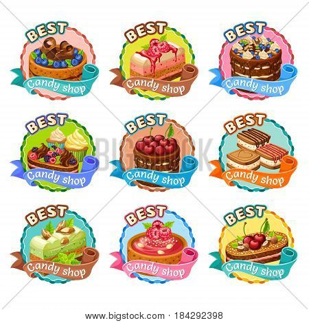 Colorful candy shop stickers set with cakes cupcakes cookies with chocolate whipping cream berries nuts isolated vector illustration