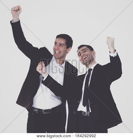 Young two men standing , isolated on white background .