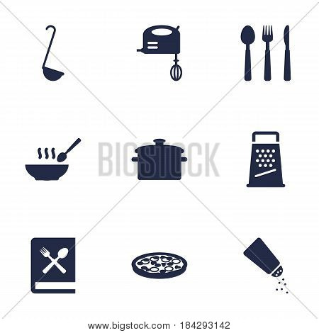 Set Of 9 Cooking Icons Set.Collection Of Cooking Instruction, Pepperoni, Saltshaker And Other Elements.