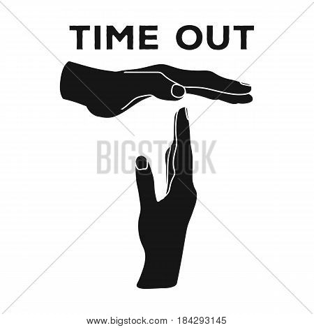 Gesture of a time out.Basketball single icon in black style vector symbol stock illustration .