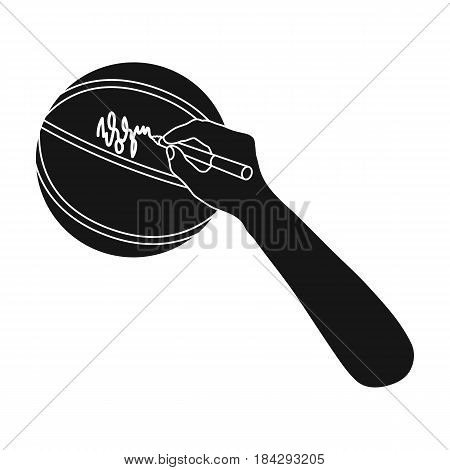 Autograph on a basket ball.Basketball single icon in black style vector symbol stock illustration .