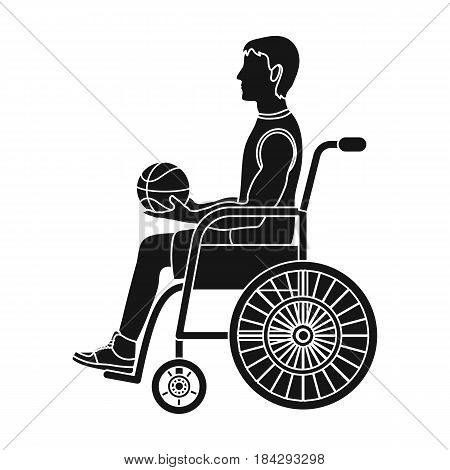 Basketball player disabled.Basketball single icon in black style vector symbol stock illustration .