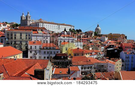 Lisbon, Portugal. View on Alfama district and on Igreja de São Vicente de Fora, May 2014.