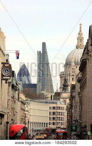 City of London, View on St Paul Cathedral, The Gherkin, and The Leadenhall Building