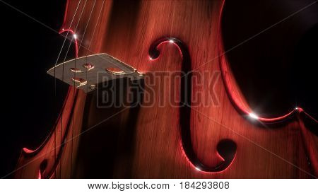 Double bass and cello in dark studio. 3d illustration