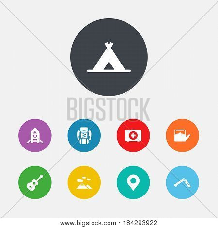Set Of 9 Camping Icons Set.Collection Of Jackknife, Inflatable Raft, Acoustic And Other Elements.