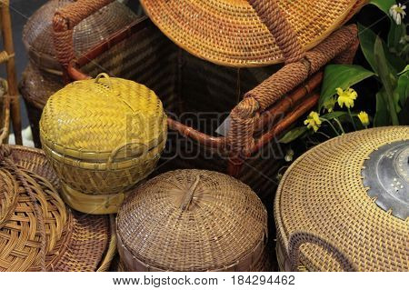 rattan or bamboo handicraft hand made from natural straw traditional basket container from Indonesia Asia photo