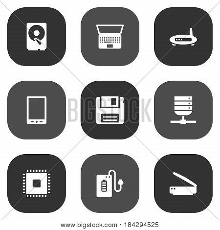 Set Of 9 Laptop Icons Set.Collection Of Palmtop, Photocopy, Diskette And Other Elements.