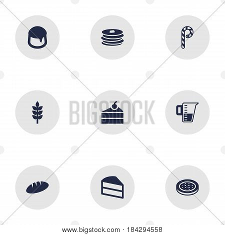 Set Of 9 Bakery Icons Set.Collection Of Measurement, Cake, Sweetmeat And Other Elements.