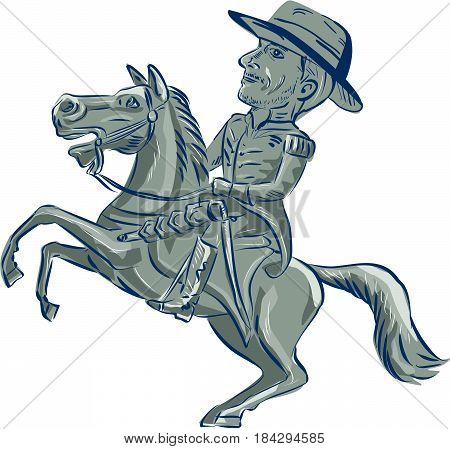Illustration of an american cavalry officer riding horse prancing viewed from the side set on isolated white background done in cartoon style.