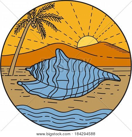 Mono line style illustration foa conch shell laying on beach with mountain sun and coconut tree in the background set inside circle.