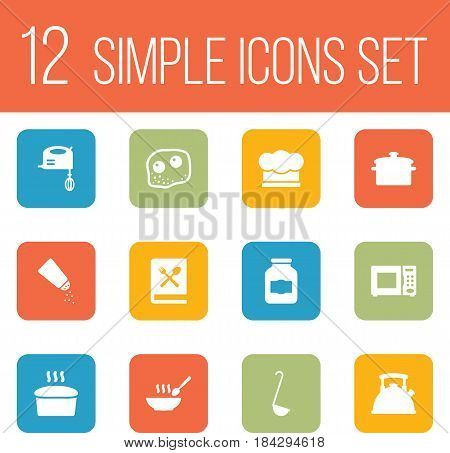 Set Of 12 Culinary Icons Set.Collection Of Blender, Cooking Instruction, Teapot And Other Elements.