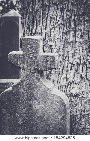 Old Tombstone With Cross