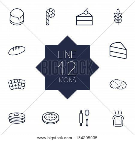 Set Of 12 Bakery Outline Icons Set.Collection Of Pudding, Toast, Cheesecake And Other Elements.