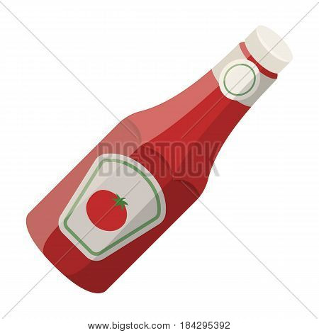 A bottle of ketchup.BBQ single icon in cartoon style vector symbol stock illustration .