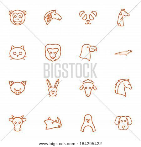 Set Of 16 Beast Outline Icons Set.Collection Of Dog, Rabbit, Eagle And Other Elements.