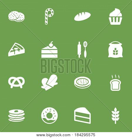 Set Of 16 Cook Icons Set.Collection Of Grain, Muffin, Sack And Other Elements.