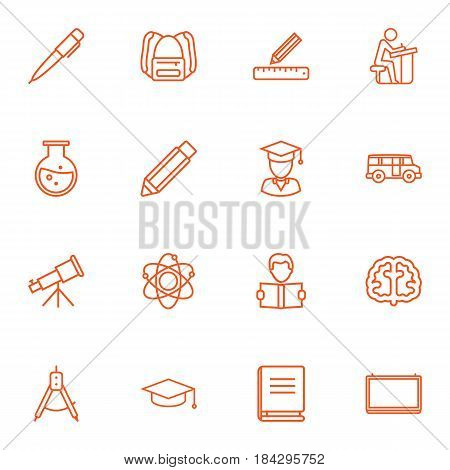 Set Of 16 Studies Outline Icons Set.Collection Of Brain, Atom, School Board And Other Elements.