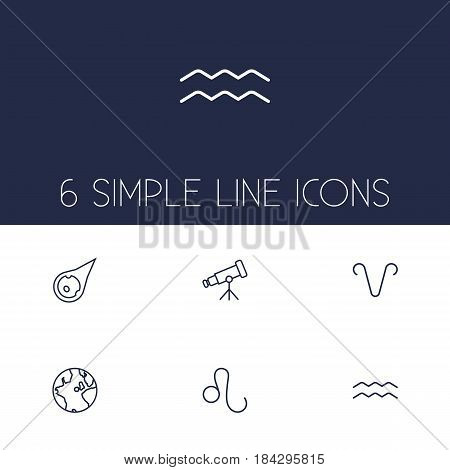 Set Of 6 Astrology Outline Icons Set.Collection Of Asteroid, Leo, Telescope And Other Elements.