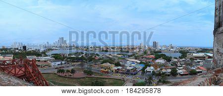 Cartagena panoramic view from San Felipe Castle