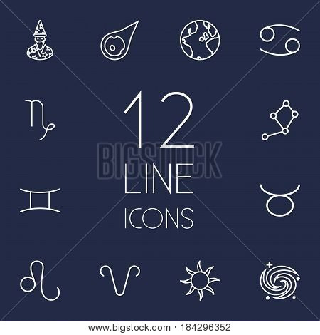 Set Of 12 Astrology Outline Icons Set.Collection Of Gemini, Astrologer, Galaxy And Other Elements.