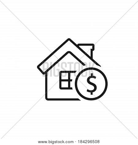 House with coin outline icon. Vector business symbol isolated on white background.