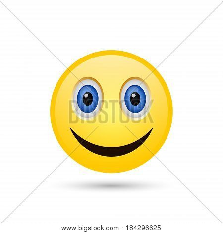 Smiling yellow emoticon isolated on white background. Vector icon.