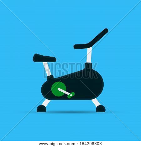 Exercise bike flat icon with shadow vector gym equipment.