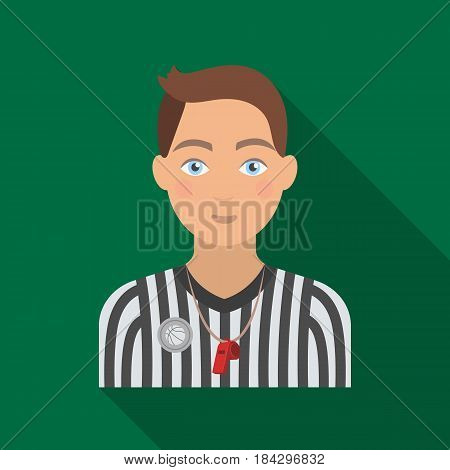 Basketball referee.Basketball single icon in flat style vector symbol stock illustration .