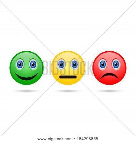 Emoticon evaluation feedback icon smiley with different mood. Vector.