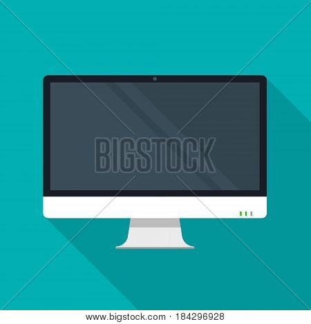Flat monitor or personal computer icon with shadow. Vector illustration.