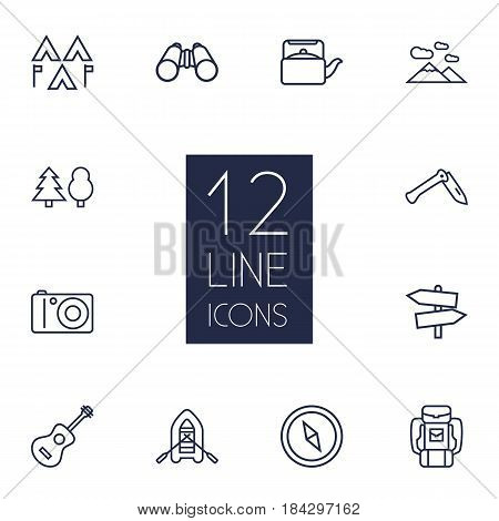 Set Of 12 Adventure Outline Icons Set.Collection Of Forest, Rubber Boat, Binoculars And Other Elements.