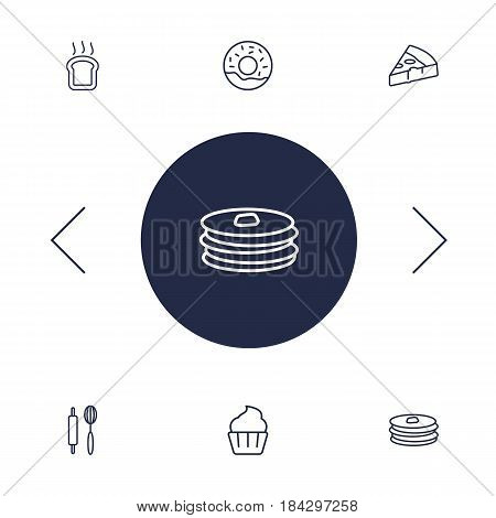Set Of 6 Bakery Outline Icons Set.Collection Of Donuts, Cupcake, Pizza And Other Elements.