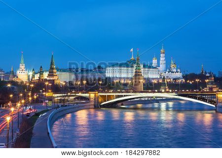 View of Kremlin during blue hour in Moscow Russia.