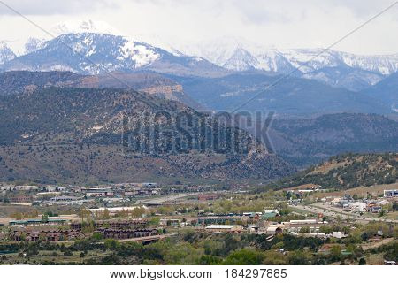 Snow blanket over the mountains in Durango, CO