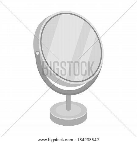 Desk mirror.Barbershop single icon in monochrome style vector symbol stock illustration .
