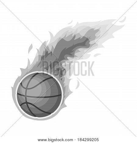 Fireball.Basketball single icon in monochrome style vector symbol stock illustration .