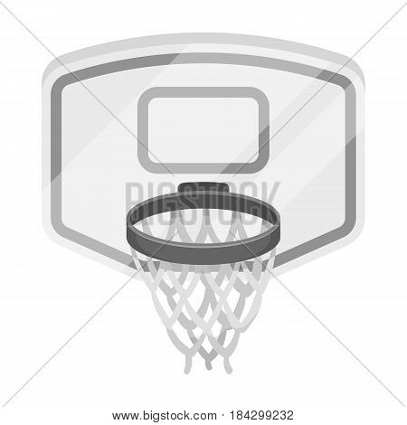 Shield with basket.Basketball single icon in monochrome style vector symbol stock illustration .