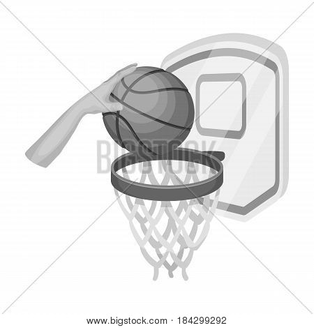 Hand with a ball near the basket.Basketball single icon in monochrome style vector symbol stock illustration .