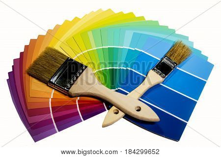 paint brush, painting brushes, paintbrush, paint brush isolated on white background with paint samples, paint samples with paint brushes on it